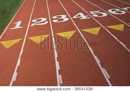 Numbers at the starting line on track and field