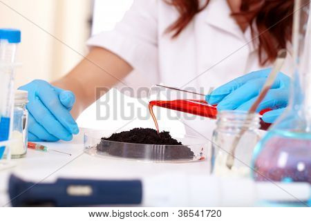 Scientist in laboratory is modifing food and soil genetically, isolated on white