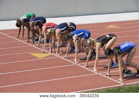 Track Race Start at Starting Line on Race