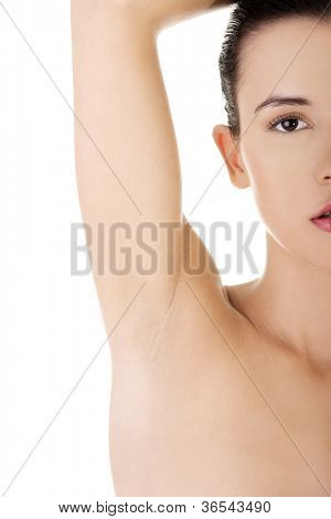 Woman's armpit isolated on white background