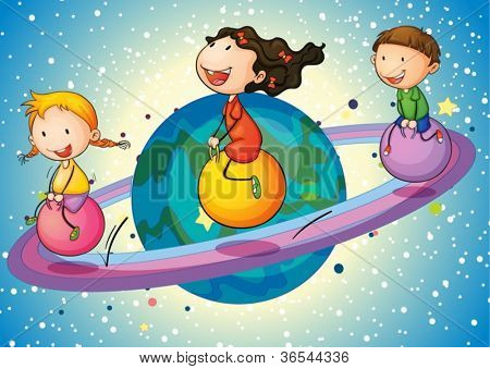 illustration of a kids on saturn planet in the universe