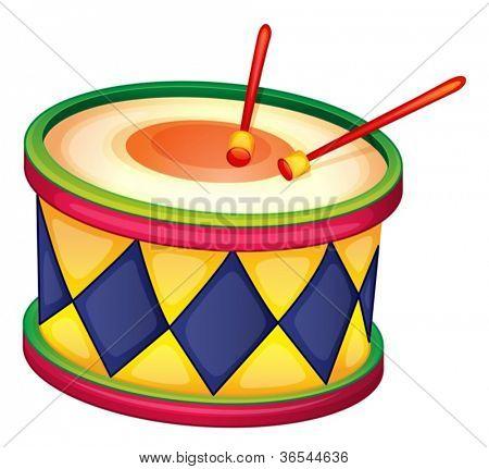 Abbildung einer bunten Trommel auf einem weißen