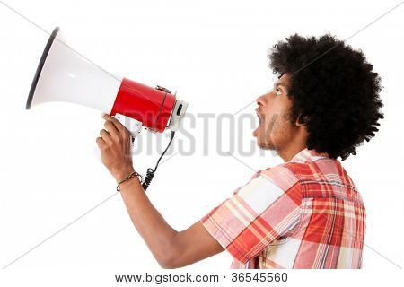 Afro man screaming with a megaphone - isolated over a white background
