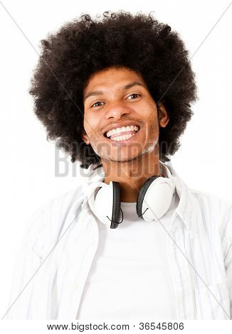 Black man with headphones - isolated over a white background