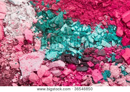set of crushed eyeshadows as a background