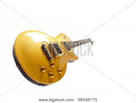 Vintage Gold top electric solid body guitar, isolated on white.  Single cutaway.