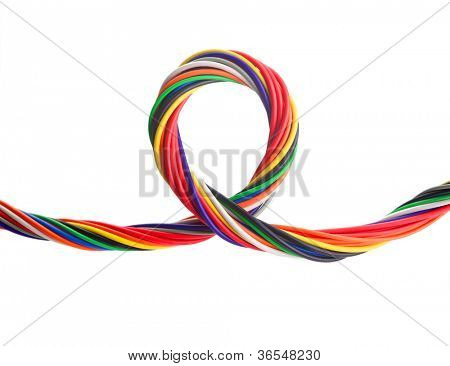 Bundle of colorful electrical cables, in a loop or twist. isolated on white.