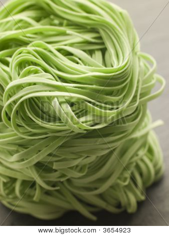 Stack Of Spinach Noodles