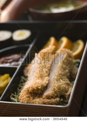 Tonkatsu Plated With Rice Miso Soup And Pickles