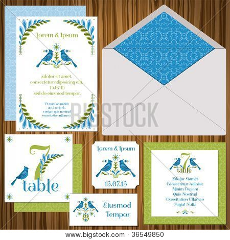 Wedding Invitation Card Set -Vintage Birds- invitation, table signs, name cards,guest cards