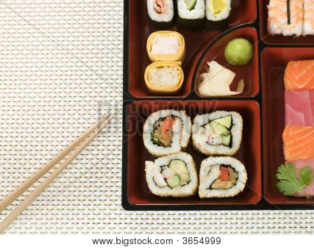 Selection Of Sushi In A Bento Box