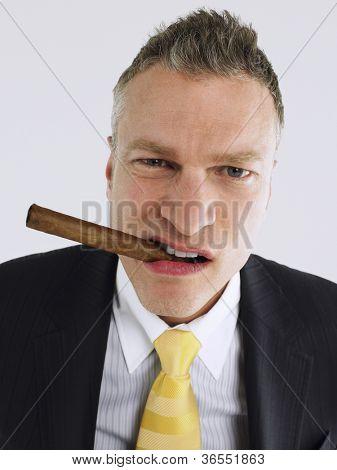 Portrait of an elegant businessman with cigar