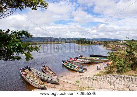 Stop Of Boats On River