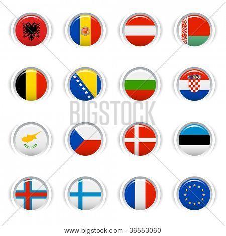 Botones brillante - banderas europeas