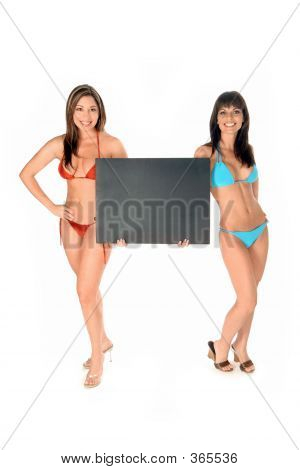 Hot Bikini Girls holding Sign Vorstand