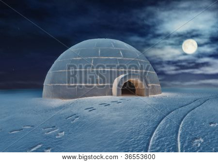 Igloo at night ( 3D and hand-drawing elements combined.)
