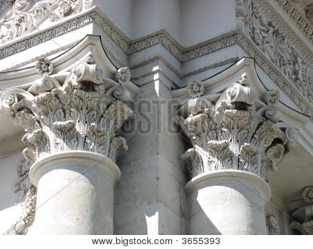 Ancient Columns Architectural Design Of Engraving Elements
