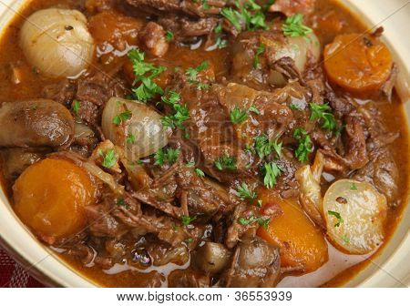 Bowl of beef bourguignon, traditional French stew.
