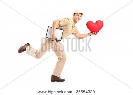 A delivery boy in a rush delivering red heart shaped object isolated against white background