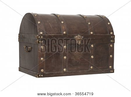 Old Treasure chest  3/4 view isolated on white background
