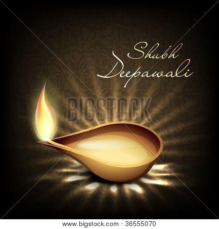 Beautiful illuminating Diya background for Hindu community festival Diwali or Deepawali in India. EPS 10.
