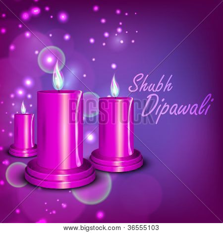 Beautiful illuminating candles background for Hindu community festival Diwali or Deepawali in India. EPS 10.