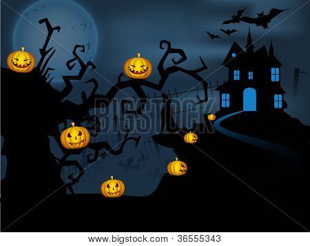 Scary Halloween full moon night background. EPS 10.