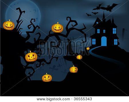 Scary Halloween full moon night background. EPS 10.