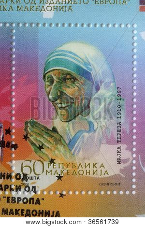REPUBLIC OF MACEDONIA - CIRCA 2006: postage stamp printed in Macedonia showing an image of Mother Teresa,  circa 2006.