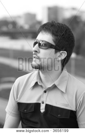 Young Man With His Mouth Open In Astonishment Bw