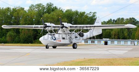 PILSEN, CZECH REPUBLIC - AUGUST 25: Most popular american sea plane during second world war Consolidated PBY-5A Catalina, Pilsen Aeronautical Days on August 25, 2012 in Pilsen Czech Republic.