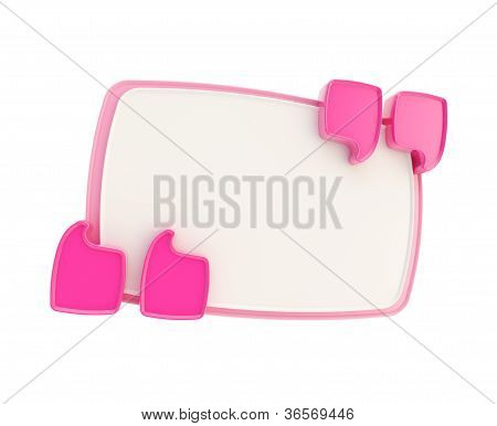 Pink And White Copyspace Plate Banner Inside Quotes