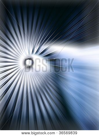 Abstract white tunel over dark blue background