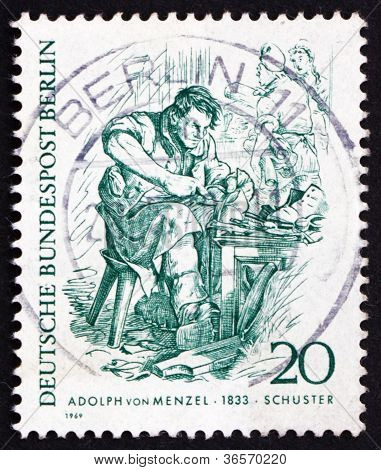 Postage stamp Germany 1969 Cobbler, by Adolph von Menzel