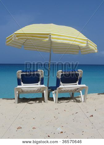Two empty beach chairs