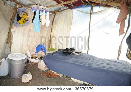 Inside a tent in Haiti.