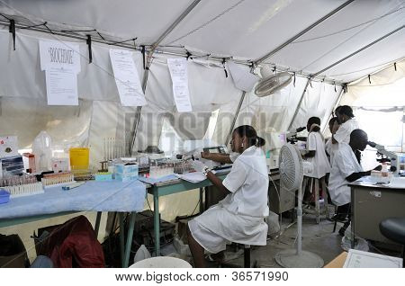 Makeshift Hospital in Haiti.