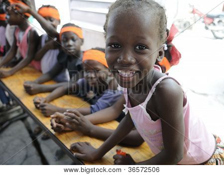 Kids in a school in Haiti.