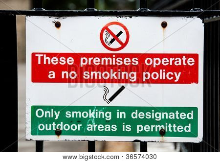 No Smoking On Premises Sign, Only Smoke In Designated Areas