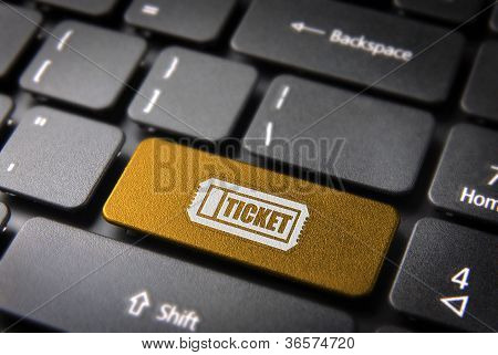 Keyboard Key With Entertainment Ticket Entrance