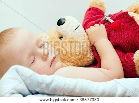 Sleeping Baby With Bear