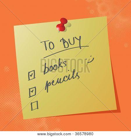 To Buy List Handwritten Message