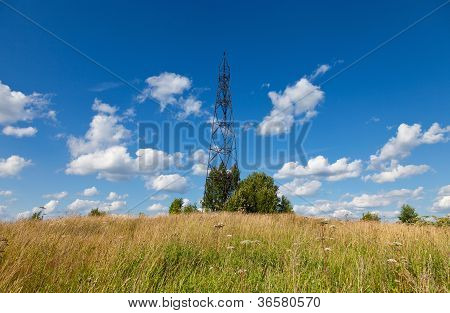 Summer Landscape With Geodetic Point In Russia