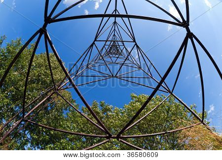 Geodetic Point Against Blue Sky In Russia