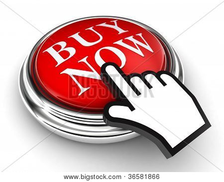Buy Now Red Button And Pointer Hand