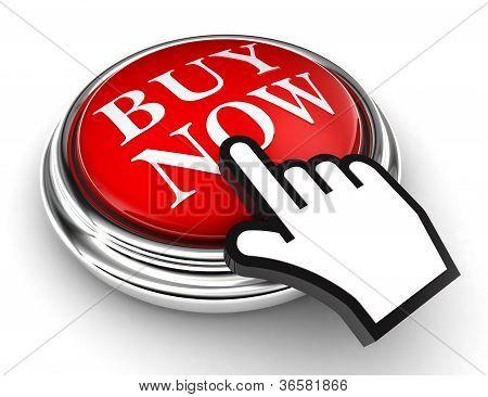 Comprar ahora rojo botón y mano de puntero