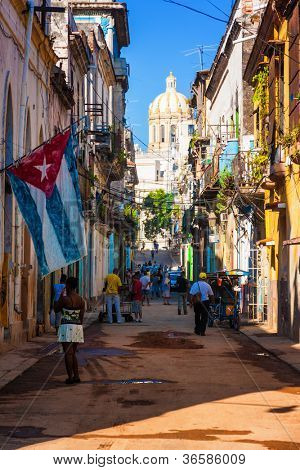 HAVANA-SEPTEMBER 4:Street in the old part of the city September 4,2012 in Havana.With its distinct atmosphere,Havana is the destination of more than 1 million tourists who visit the city every year