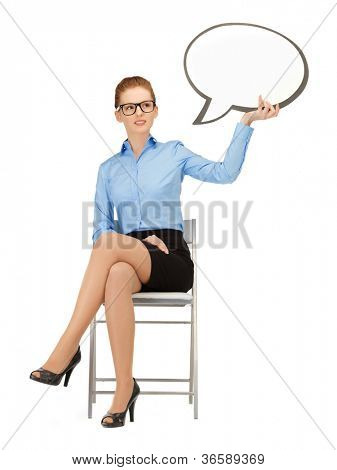 picture of pensive businesswoman with blank text bubble in specs