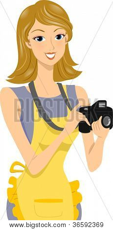 Illustration of a Female Food Photographer Holding a Camera