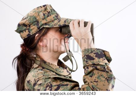 Girl In A Camouflage With A Binoculars